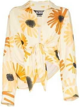 Jacquemus floral print tie-waist shirt - Yellow