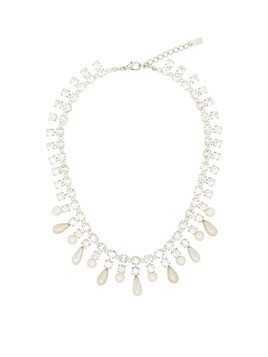 Alessandra Rich pearl drop crystal necklace - White