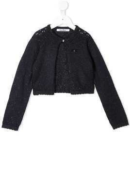 Familiar sparkle knit cardigan - Blue