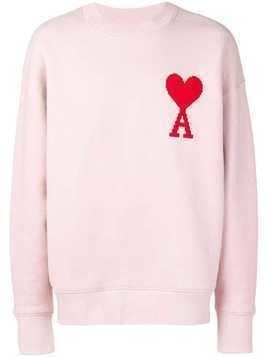 Ami Alexandre Mattiussi Crewneck Sweat With Big Ami Coeur Patch - Pink