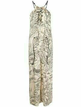 Aeron leaf-print sleeveless jumpsuit - Neutrals