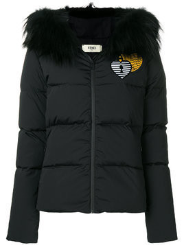 Fendi heart embroidered padded jacket - Black