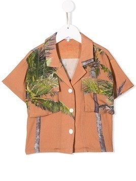 Duo palm tree print shirt - Brown