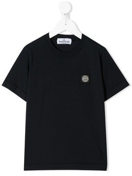 Stone Island Junior logo patch T-shirt - Blue