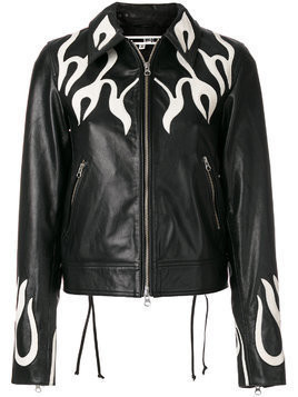 McQ Alexander McQueen flame effect leather jacket - Black