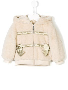 Lapin House hooded fur bomber jacket - Neutrals