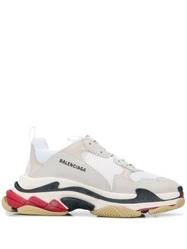 Balenciaga W Triple S tricolour sole sneakers - White
