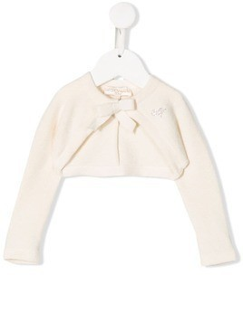 Monnalisa bow detail cardigan - White