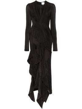 Galvan Taja pleated asymmetric dress - Black