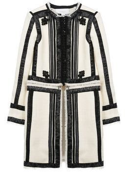 Giambattista Valli contrasting ribbon trim coat - White