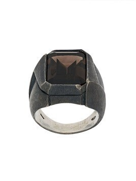 Nove25 antiqued rectangular signet ring - Grey