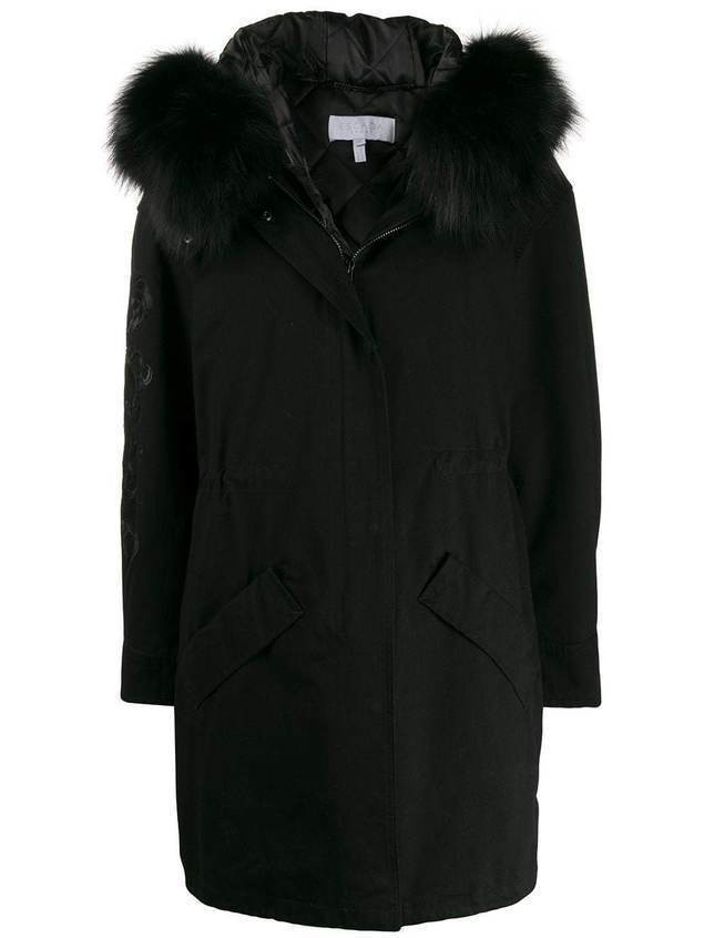 Escada Sport embroidered mid-length coat - Black