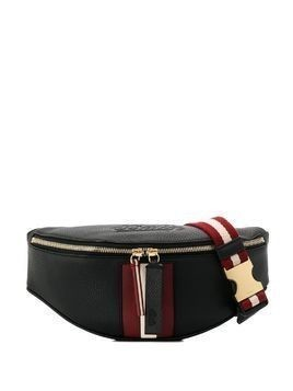 Bally stripe appliqué belt bag - Black