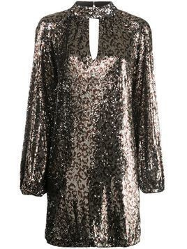 Milly sequinned leopard print dress - Brown