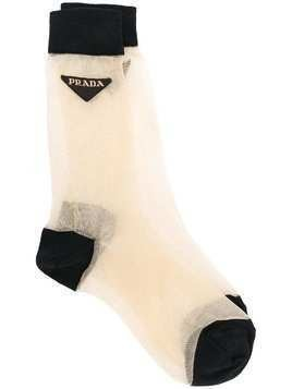 Prada sheer contrast socks - Metallic