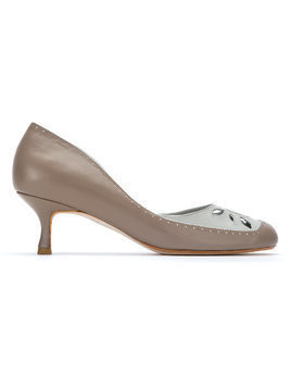 Sarah Chofakian leather panelled pumps - Grey