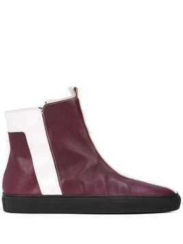 Alberto Fermani striped ankle boots - Red