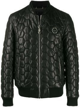 Philipp Plein Leather Bomber Statement - Black