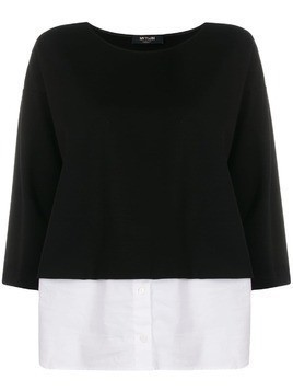 Twin-Set cropped sleeve layered shirt - Black