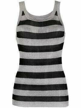 Laneus two-tone striped vest - Silver