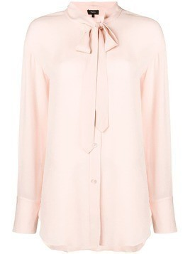 Theory long-sleeve fitted blouse - Pink & Purple