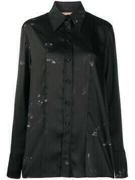 Ssheena long cat-print shirt - Black