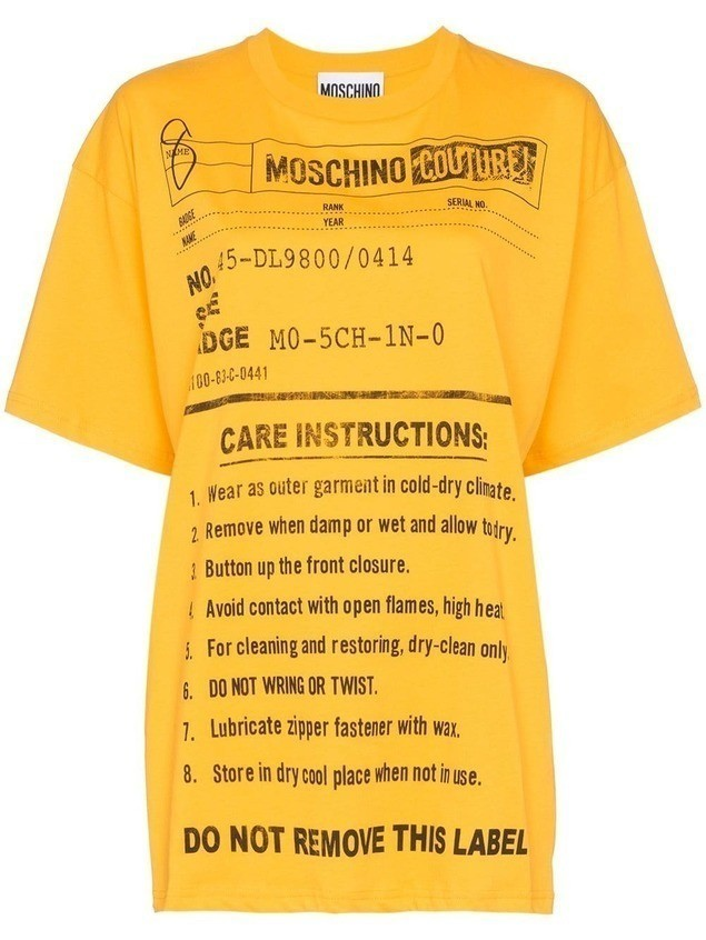 Moschino oversized care label-print T-shirt - Yellow
