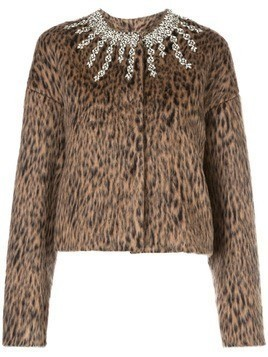 Giambattista Valli embellished leopard print jacket - Brown