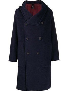 Hevo Salve hooded double-breasted coat - Blue