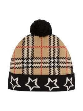 Burberry Kids Star Detail Check Merino Wool Jacquard Beanie - Archive Beige