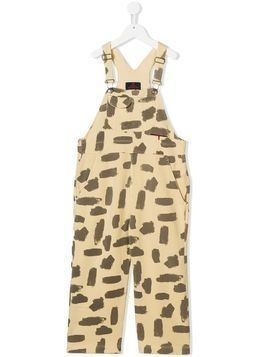The Animals Observatory paint brush print dungarees - Yellow & Orange