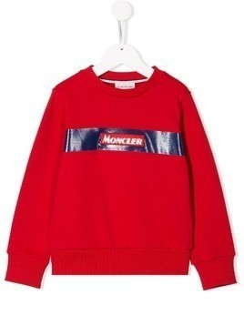 Moncler Kids crew neck logo sweater - Red