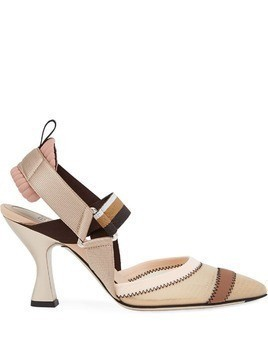 Fendi multicoloured sling back court shoes - NEUTRALS