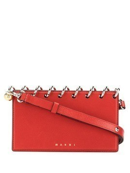 Marni gold-tone detail clutch bag - Red