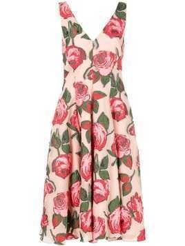 Lela Rose rose print midi dress - Pink