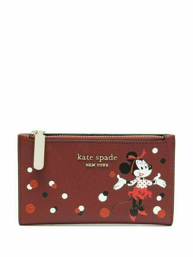 Kate Spade Minnie Mouse-print logo-plaque wallet - Red