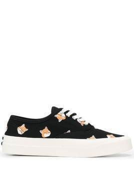 Maison Kitsuné Fox Head print platform sole sneakers - Black