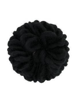 Caffe' D'orzo embroidered flower brooch - Black