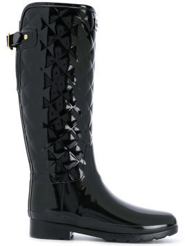 Hunter quilted knee-high boots - Black