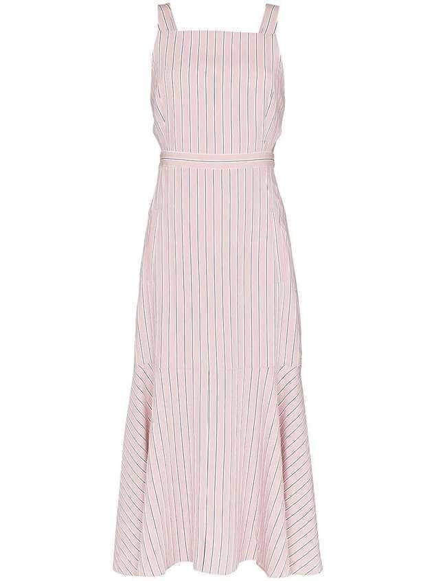 Tibi striped cut-out midi-dress - PINK