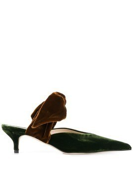 Gia Couture bow-embellished velvet mules - Green