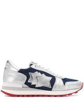 Atlantic Stars denim star patch sneakers - Silver