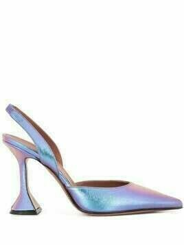 Amina Muaddi iridescent calf leather pumps - PURPLE