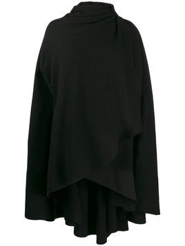Aganovich hooded wrap front cape - Black