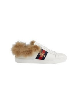 Gucci Ace sneaker with fur - White