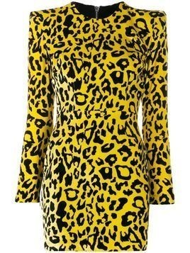 Alex Perry velvet leopard print dress - Yellow