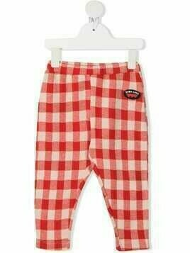 Bobo Choses check-print organic cotton trousers - Red