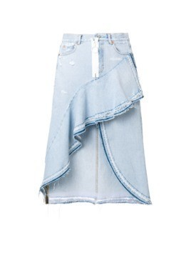 Off-White asymmetrical denim skirt - Blue