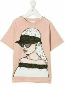Fendi Kids girl-print T-shirt - PINK