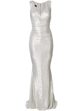 Talbot Runhof v-neck ruched gown - Grey